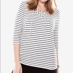 NWT Woman Within Black/White Rib Knit Lace-up Tee